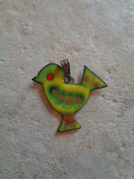 Pendentif oiseau émail