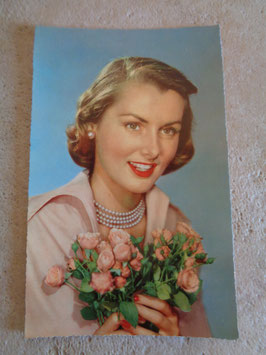 Carte postale Pin up bouquet 60's