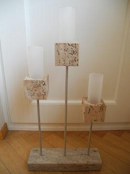 3er Windlicht Kombination auf Treibholz