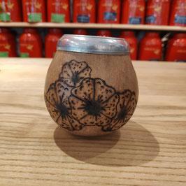Calebasse gravée motifs floraux