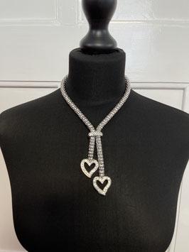 nr 9126 metalen ketting met strass hartjes