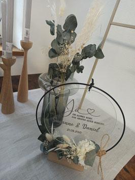 Glasscheibe Hochzeit Ja - personalisiert