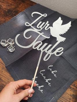 Caketopper Taufe 7 - Zur Taufe mit Taube