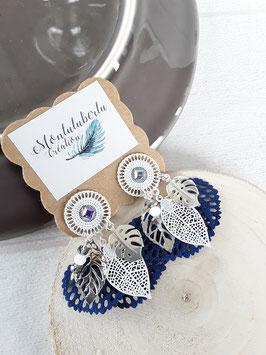 Boucles bouquet bleues blanches