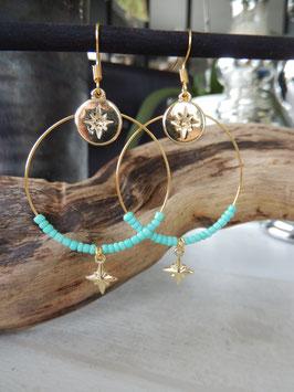 Créoles perles turquoise