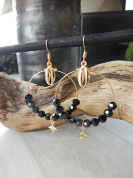 Boucles créoles minsk perles noires