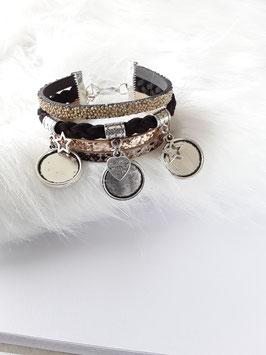 Bracelet manchette 4 liens noire et beige