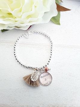 Bracelet perles fin beige