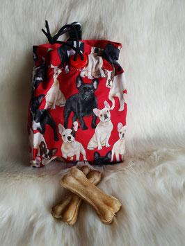 Leckerlibeutel Französische Bulldogge Rot/Schwarz/Beige