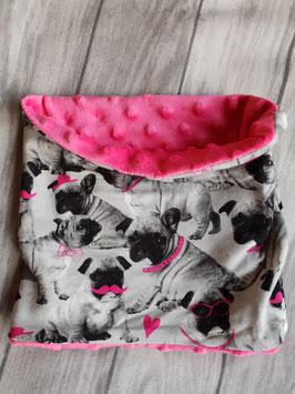 Doggy-Loop Bully Pinke Schnurbärte  Fleece Minky/Pink bis Halsumfang 42 cm