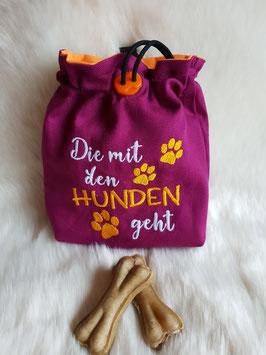 Leckerlibeutel Die mit dem Hunden geht orange/magenta
