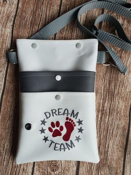 Gassi Tasche Dream Team Gurt Grau Leder Weiß/Grau