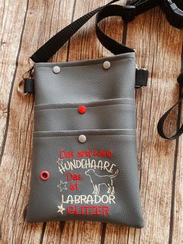 Gassi Tasche  Labrador Glitzer Leder Grau