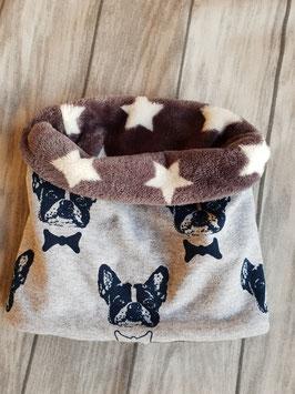 Doggy-Loop Frenchy Grau  Fleece grau/weiße Sterne   Halsumfang bis 44cm