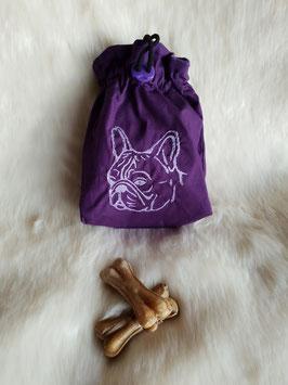 Leckerlibeutel Französische Bulldogge Lila/Rosa
