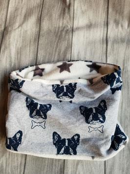 Doggy-Loop Frenchy Grau  Fleece weiß/graue Sterne   bis Halsumfang 44 cm