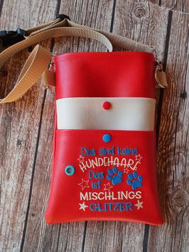 Gassi Tasche Mischlings Glitzer Leder Rot/Beige