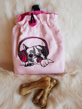 Leckerlibeutel Französische Bulldogge rosa/ Kopfhörer bestickt