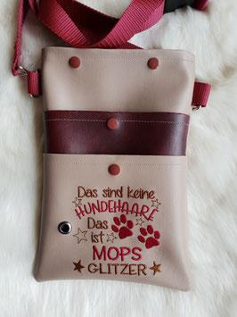 Gassi Tasche Mops Glitzer Leder Beige/Bordeaux