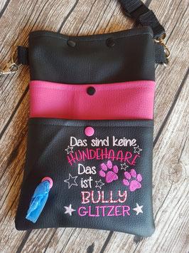 Gassi Tasche Bully Glitzer Leder Schwarz/Pink