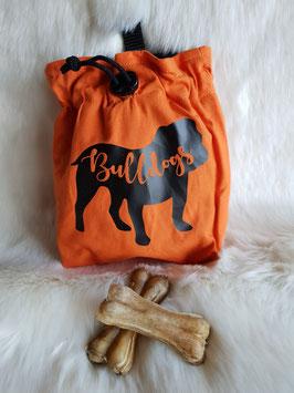 Leckerlibeutel  Englische Bulldogge Orange/Folie schwarz
