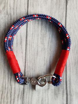 Tauhalsband Blau/Rot mit Rot Getakelt, mit  Rosegold Karabiner oder Edelstahl Karabiner