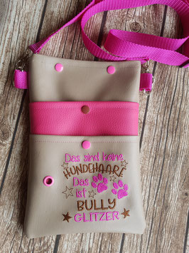 Gassi Tasche Bully Glitzer Leder Beige/Pink