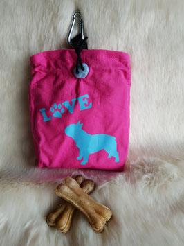 Leckerlibeutel Französische Bulldogge Pink/Türkis
