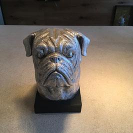 "Buchstütze ""Hund"" Skulptur silber"