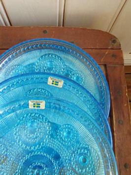 Blåa glasassietter Lindshammar / リンヅハンマルのガラス皿