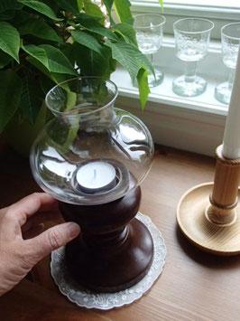 Ljusstake med glaskupa / 木製キャンドルスタンド ガラス風防付き
