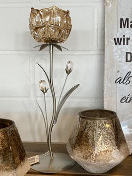 Formano Teelichthalter Glas-Blüte gold/Braun auf Metallfuß 2 Größen und Ausfertigungen rosa Glasblüte mit Schmetterling