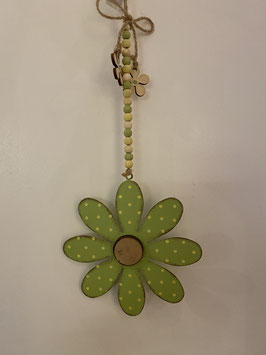 Hänger Blüte Metall Holz Perlen Deko Frühling Sommer grün gelb