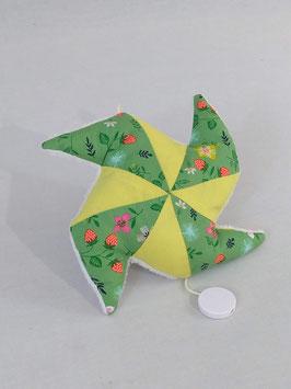 Coussin musical moulin, imprimé vert fraise, uni jaune