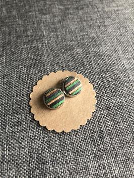 Nr. 18 Ohrclip Furnier grün braun dunkelblau in Fassung