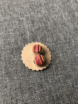 Nr. 15 Ohrclip Furnier Rottöne in Fassung