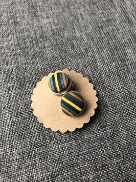 Nr. 14 Ohrclip Furnier blau gelb in Fassung