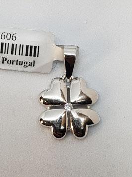 Berloque prata trevo zircónia - RR