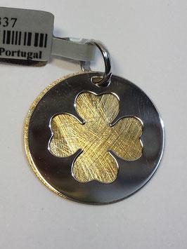 Medalha em prata bicolor trevo recortado