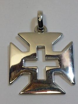 Cruz de Cristo Portuguesa Aberta em Prata