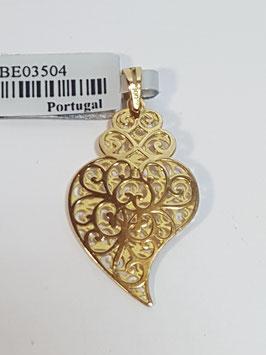 Pendente Coração de Viana em ouro laser 23 - duplo - IGL