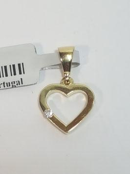 Coração ouro aro zircónia lateral 10- MM
