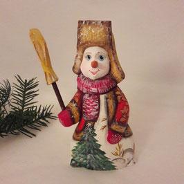 Schneemann mit Tannenbaum und Besen