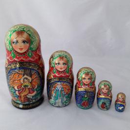 """Matroschka 5 tlg   mit Märchenmotiv """"Morozko"""""""