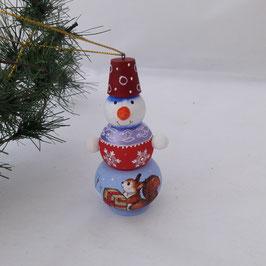 Schneemann mit dem Eichhörnchen. Tannenbaumschmuck
