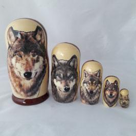 "Matroschka 5 tlg  groß Motiv ""Wolf"""