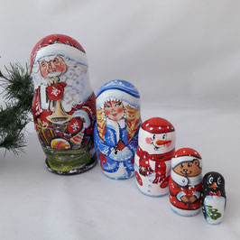 Weihnachtsmann in rot 5 teilig mit der Flöte