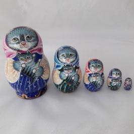 """Matroschka 5 tlg klein  mit Motiv """"Katzenfamilie"""""""