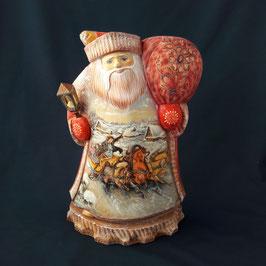 Weihnachtsmann mit dem Sack und Laterne