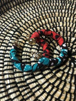 Boucles d'Oreilles Luna - Rouge et Turquoise